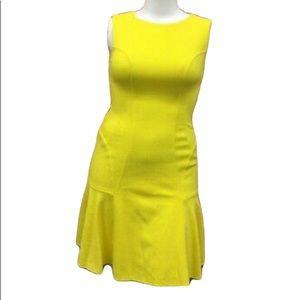 🎀Betsey  Johnson Yellow Textured Shear Flare Sheath Dress Sz 10 Wt Back Zipper